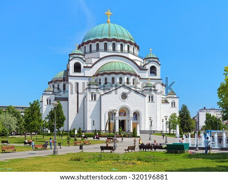 Church of Saint Sava in Belgrade, Serbia. It is one of the largest Orthodox churches in the world - stock photo