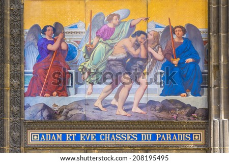 Church of Saint-Vincent-de-Paul (Eglise Saint-Vincent de Paul, design Jean-Baptiste Lepere, was built during 1824 - 1844) dedicated to Saint Vincent de Paul. Paris, France. Fragments of the entrance. - stock photo