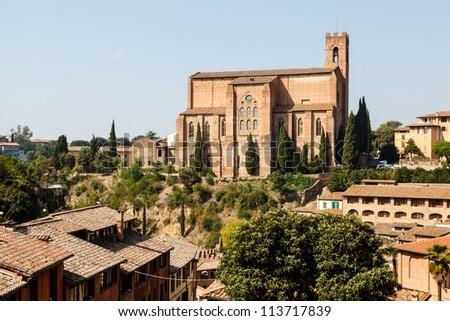 Church of San Domenico in Siena, Tuscany, Italy - stock photo