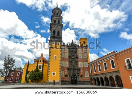 Church of San Francisco (Templo de San Francisco) of Puebla, Mexico. Built of quarry tile and brick, the temple was completed in 1767.