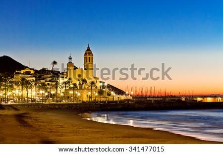 Church of Sant Bertomeu and Santa Tecla in Sitges. Spain - stock photo