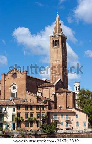 Church of Santa Anastasia - Verona Italy / The church of St. Anastasia (1290-1471) on blue sky with clouds in Verona (UNESCO world heritage site), veneto, Italy - stock photo
