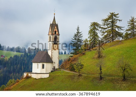 Church of Santa Barbara in La Val - La Valle, Dolomites, Italy