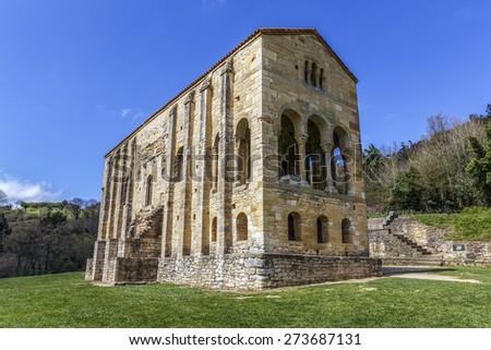 Church of Santa Maria del Naranco, IX century, in Oviedo Asturias, Spain, UNESCO  - stock photo