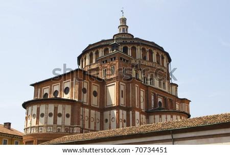 Church of Santa Maria delle Grazie in Milan, Italy . - stock photo