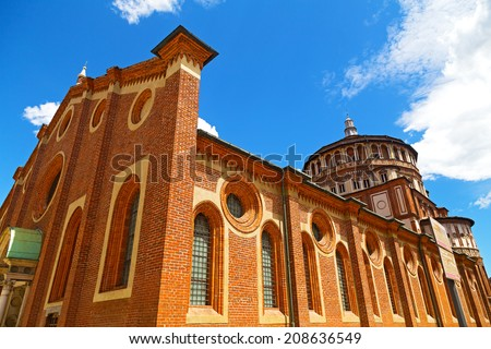 "Church of Santa Maria delle Grazie in Milan, Italy. This church is famous for hosting Leonardo da Vinci masterpiece ""The Last Supper"". - stock photo"