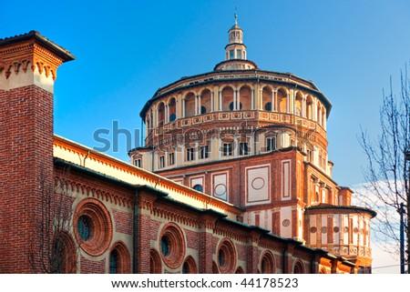 """Church of Santa Maria delle Grazie, Milan, Italy, home of the famous """"Cenacolo"""" from Leonardo da Vinci. - stock photo"""