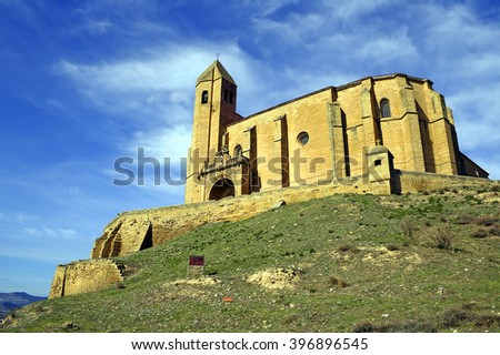 Church of Santa Maria La Mayor, castle in San Vicente de la Sonsierra, La Rioja, Spain  - stock photo