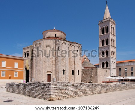 Church of st. Donat, a monumental building from the 9th century in Zadar, Croatia - stock photo
