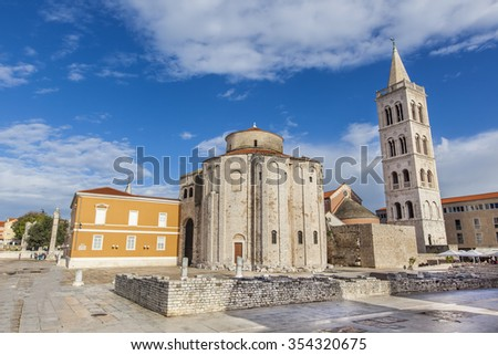 Church of St. Donat, Zadar, a monumental building from the 9th century in Zadar, Croatia, adriatic region of Dalmatia. - stock photo