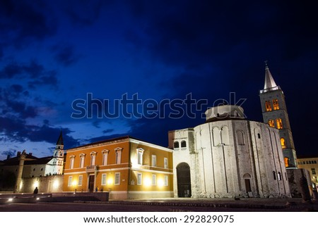 Church of St. Donat, Zadar, Croatia at night - stock photo