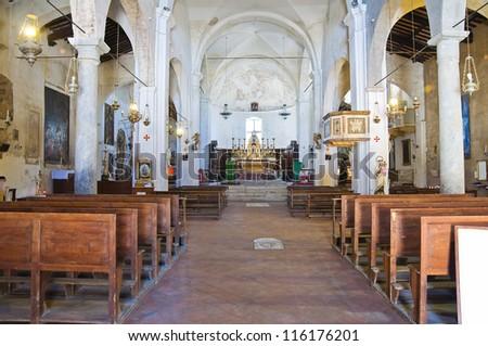 Church of St. Donato. Civita di Bagnoregio. Lazio. Italy. - stock photo