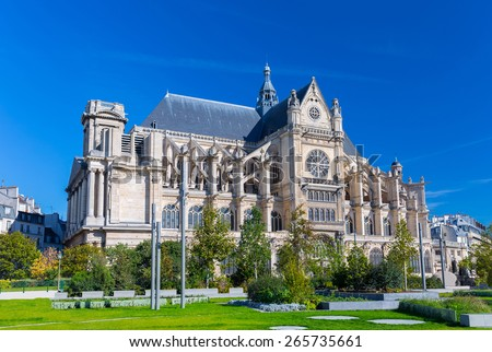Church of St Eustache (Eglise Saint-Eustache) and Nelson Mandela Garden. Building was built between 1532 and 1632. UNESCO World Heritage Site. Paris, France. - stock photo