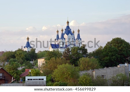 Church of St George in Kamyanets-Podilsky old town. Located in the Western Ukraine the historic capital region of Podillya - stock photo