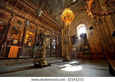 Church of St. George the Dragon Slayer, in Lod, Israel - stock photo