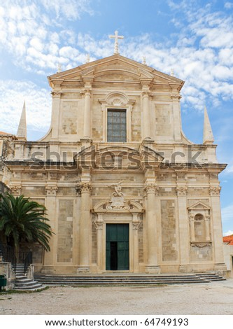 Church of St. Ignatius and the Jesuit College in the Historic Old Town of Dubrovnik, Croatia - stock photo