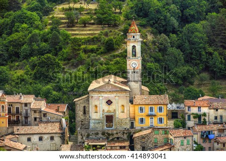 Church of St Margaret in the Village of Luceram, Alpes-Maritimes, Provence, France - stock photo