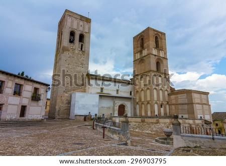 Church of St. Martin, with the two towers, Arevalo, Spain - stock photo