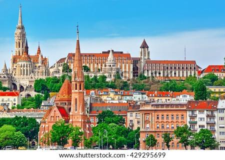 Church of St. Matthias ,Fisherman's Bastion,Calvinist Church shore view's of the Danube .Budapest.Hungary - stock photo