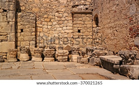 Church of St. Nicholas. Demre, Turkey. Architectural elements are represented in the church yard. - stock photo