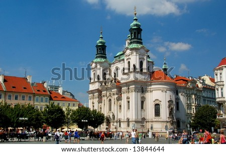 Church of St. Nicholas in Old Town Square, Prague - stock photo
