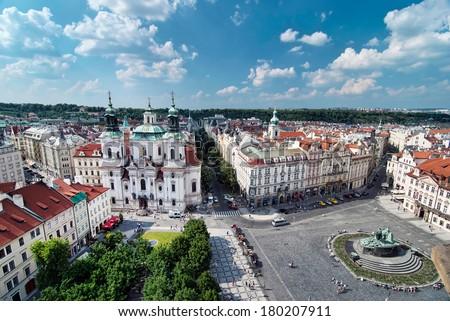 Church of St. Nicholas. Old Town Square, Prague, Czech Republic - stock photo