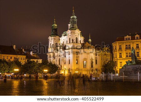 Church of St. Nicholas on Old Town Square in the night. Prague, Czech Republic - stock photo