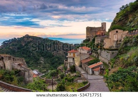 Church of St. Nicolo at sunset, Savoca, Italy.