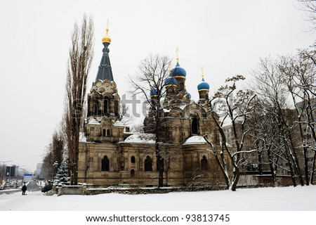 Church of St. Simeon Divnogorsk in Dresden Germany. Architect JG von Bosse. 1872-1874 years. - stock photo