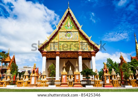 Church of Thai temple in north-east of Thailand - stock photo