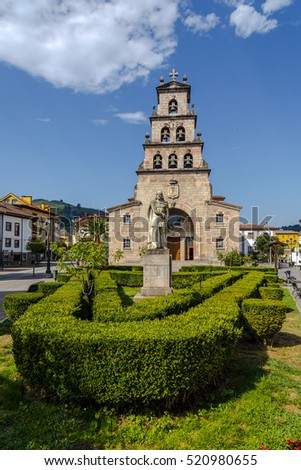 Church of the Assumption of Cangas de Onis, Asturias Spain and Statue of Don Pelayo, first king of Spain.