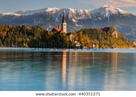 Church of the Assumption of Maria in Lake Bled, Slovenia - stock photo