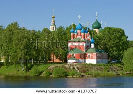 Church of the Dmitry in Uglich. Volga river. - stock photo