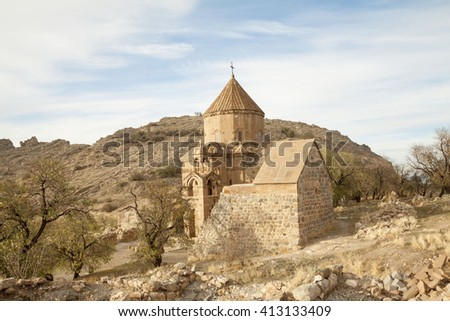 Church of the Holy Cross is a ruined Armenian cathedral on an island of Van lake in Eastern Anatolia, Turkey - stock photo