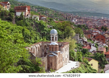 Church of the Holy Saviour, a Serbian Orthodox church located in Prizren, Kosovo