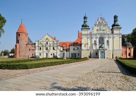 Church of the Holy Trinity and the Blessed Virgin Mary and St. Prokop Rotunda in Strzelno, Poland - stock photo