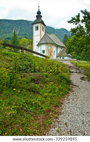 Church of the Holy Virgin Mary in Ribchev Laz village. Bohinj Lake, Triglav national park Slovenia, Julian Alps, Europe.