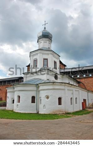 Church of the Intercession of the Holy Virgin in Novgorod Kremlin. Veliky Novgorod. Russia. - stock photo