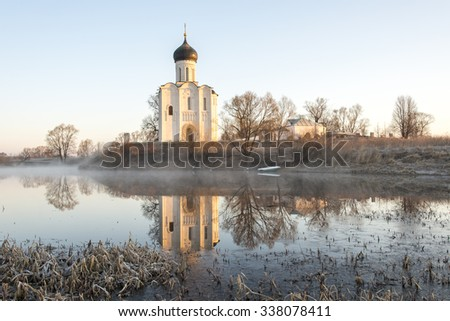 Church of the Intercession on the Nerl. Bogolyubovo, Vladimir region, Golden Ring of Russia. Early spring.