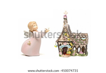 Church of the meadow flowers and little angel with dove, isolated - stock photo