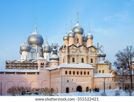 Church of the Resurrection Rostov Kremlin in winter. - stock photo