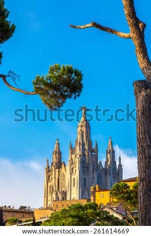 Church of the Sacred heart of Jesus in Barcelona in Spain - stock photo
