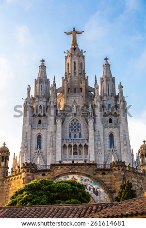 Church of the Sacred heart of Jesus in Barcelona in Spain - stock photo