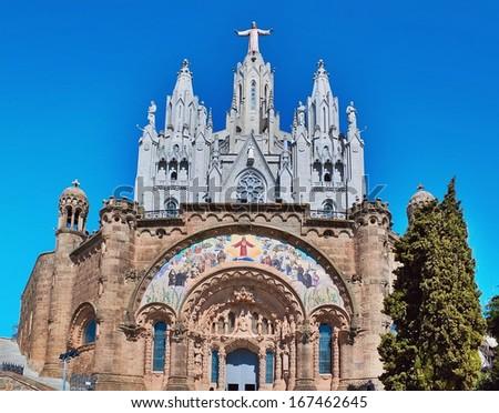 Church of the Sacred Heart of Jesus in Barcelona, Spain - stock photo