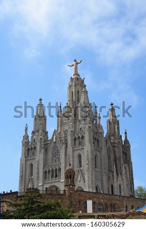 Church of the Sacred Heart of Jesus on summit of Mount Tibidabo in Barcelona, Catalonia, Spain.