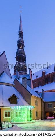 Church of the Saint Peter in winter, old Riga city, Latvia - stock photo