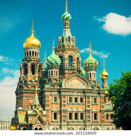Church of the Savior on Spilled Blood (Cathedral of the Resurrection of Christ) in Saint Petersburg, Russia. Vintage Photo. - stock photo