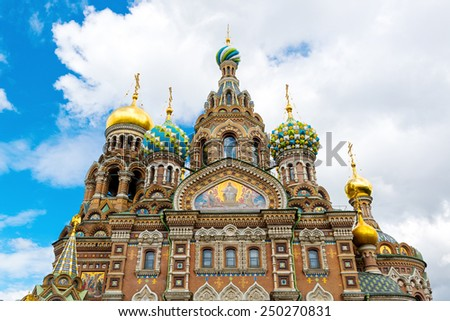 Church of the Savior on Spilled Blood (Cathedral of the Resurrection of Christ) in St. Petersburg, Russia. It is an architectural landmark of city, and a unique monument to Alexander II the Liberator. - stock photo