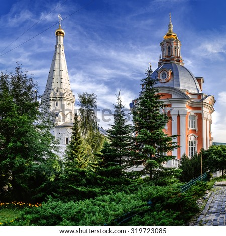 Church of the Smolensk Icon of the Holy Mother (1746 - 1753), Trinity Lavra of St. Sergius, Sergiev Posad, Russian Federation. - stock photo