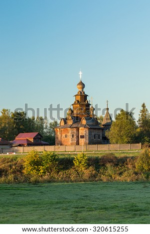 Church of Transfiguration in Old Russian Town  Suzdal, Russia.  - stock photo